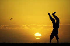 Happy boy at sunset Stock Photography