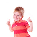 Happy boy with super sign Royalty Free Stock Images