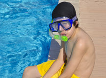 Happy Boy is  in the Swimming Pool Stock Photos