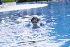 Happy Boy in the Swimming Pool Stock Images