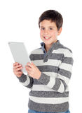 Happy boy with a tablet Royalty Free Stock Photos