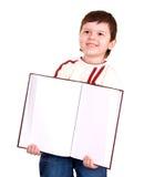 Happy  boy take open book. Royalty Free Stock Photos
