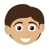 Happy boy with tan skin icon Stock Photos