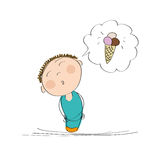 Happy boy thinking of an ice cream. Original hand drawn illustration of a happy boy thinking of an ice cream Stock Photo