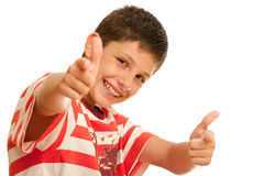 Happy boy with thumbs up Royalty Free Stock Photos