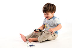 Happy boy with toys Royalty Free Stock Images