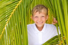 Happy boy and tropical leaves Stock Photos