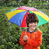 happy boy with umbrella Royalty Free Stock Photos