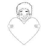 Happy boy with valentine,  illustration Black and white Royalty Free Stock Photo
