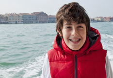 Happy boy  in Venice Stock Image