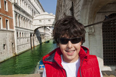 Happy boy  in Venice Royalty Free Stock Image