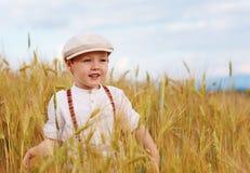 Happy boy walking the wheat field Stock Image