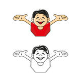 Happy boy waving arms. Vector illustration. Color and monochrome Royalty Free Stock Images