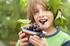 Happy boy wearing fresh grapes Royalty Free Stock Photography