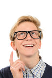 Happy boy wearing geek glasses having idea Stock Photo
