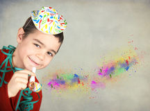 Happy boy with whistle. Happy smilling boy with whistle Stock Photos