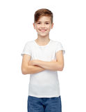 Happy boy in white t-shirt and jeans Royalty Free Stock Images