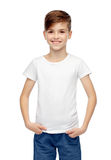 Happy boy in white t-shirt and jeans Royalty Free Stock Photo