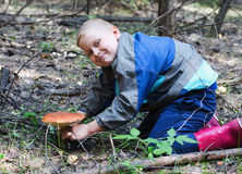 The happy boy who has found a mushroom Stock Photo