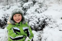 Happy boy in winter Stock Photography
