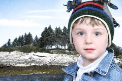 Happy Boy in Winter Clothes at Lake Park in Snow Royalty Free Stock Photos
