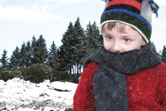 Happy Boy in Winter Clothes at Lake Park in Snow Royalty Free Stock Image
