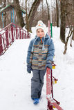 Happy boy in winter clothes Stock Image