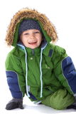 Happy boy in winter clothing Stock Photos
