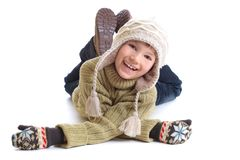 Happy boy in winter clothing Royalty Free Stock Images