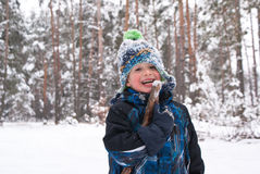 Happy boy in the winter Royalty Free Stock Images
