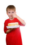 Happy Boy With A Cake Royalty Free Stock Photos