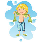 Happy boy wrapped in bath towel. Flat style vector cartoon illustration isolated on white background Royalty Free Stock Images