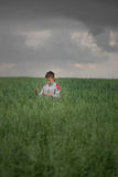 Happy boy young man on a green grain field Stock Image