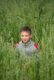 Happy boy young man on a green grain field Royalty Free Stock Images
