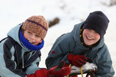 Happy boys. Two happy boys winter play royalty free stock photography