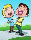 Happy Boys. This is a vector illustration of two boys sharing a laugh Royalty Free Illustration