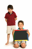 Happy Boys with Chalkboard Stock Images