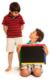 Happy Boys with Chalkboard royalty free stock photo