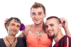 Happy boys cross-dressing Royalty Free Stock Photos