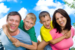 Happy boys with family Royalty Free Stock Images