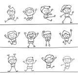 Happy boys hand drawing cartoon character Stock Image