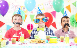 Happy boys. Having fun at birthday party Royalty Free Stock Photo