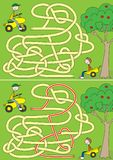 Happy boys maze. For kids with a solution Royalty Free Illustration