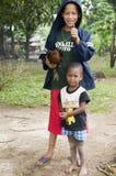 Happy boys pet chicken nicaragua royalty free stock photo