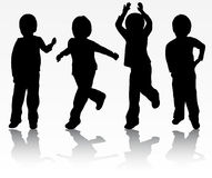 Happy boys silhouettes Royalty Free Stock Photos