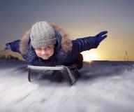 Happy boys on sled Stock Image