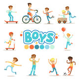 Happy Boys And Their Expected Classic Behavior With Active Games And Sport Practices Set Of Traditional Male Kid Role. Illustrations. Collection Of Smiling stock illustration