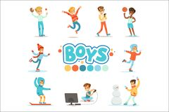 Happy Boys And Their Expected Normal Behavior With Active Games Sport Practices Set Of Traditional Male Kid Role. Happy Boys And Their Expected Normal Behavior royalty free illustration