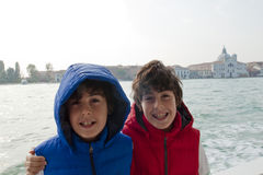Happy boys  in Venice Royalty Free Stock Photography