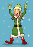 Happy Braided Blond Female Santa's Elf, Vector Illustration Royalty Free Stock Photos
